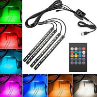 4x12LED RGB Car Interior Atmosphere Footwell Strip Light USB Charger Lamp ZX