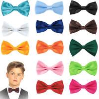 Boys Pre Tied Bow Tie Adjustable Satin Necktie Kids Neck Party Casual Wedding UK