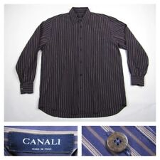 Canali Mens Large Blue Striped Button Front Long Sleeve Dress Shirt Italy
