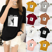 Women Loose T Shirt Tops Tee Ladies Short Sleeve Summer Casual Baggy Blouse Top
