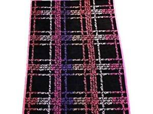 EMANUEL UNGARO Paris BATH or BEACH Club Towel BLACK Multi Logo VELVET Soft