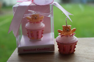Pink Teddy Bear Cupcake Candle - Christening Party / Baby Shower Baby Girl Gift