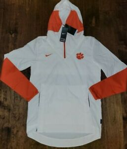 $100 Nike Clemson Tigers Football 1/4 Zip Pullover Hooded Jacket Mens Size Large
