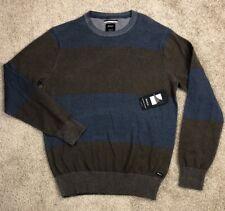 NWT RVCA Block Plate Mens Medium Slim Fit Blue Brown Stripe Sweater $60 MSRP