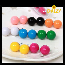 CUTE ROUND STUD EARRINGS - BLACK BLUE PINK GREEN YELLOW RED PURPLE WHITE ORANGE