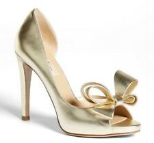 VALENTINO GARAVANI GOLD LEATHER COUTURE BOW D'ORSAY PUMP HEELS SHOES 39