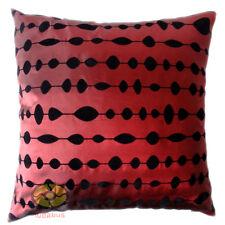 burgundy w/black circles oval dot Raised Flocked Satin Cushion Cover/Pillow case