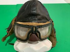 WWII Era Possibly Earlier Australian Un-wired Leather Flying Helmet Goggles Rare