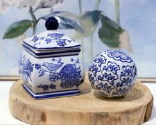 Set of 2 Blue Bird Hamptons Style Ceramic Decor Ginger Temple Jar Little Bird