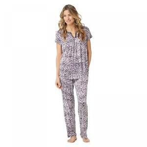NWT Carole Hochman Womens Rayon Spandex Satin Trim Pajama Set. A346785