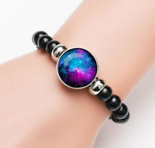 Vintage Interstellar Photo Glass Noosa Snap Chunk Elastic Beads Bracelet