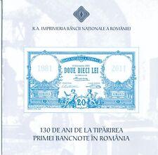Romania 130 Years 1881 2011 Commemorative UNC Polymer Banknote FOLDER Specimen