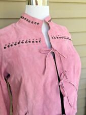 CHI by Falchi Pink Suede Jacket SZ 1X Studded Bell Sleeves Lined 100% Leather XL