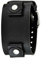 "Nemesis Black XL Wide Leather Watch Cuff Band Strap 24mm 2"" x 10.5"" Oversized"