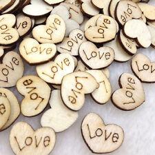 New 10/50/100pcs Heart Wood Flatback Buttons DIY Scrapbooking Appliques WB252