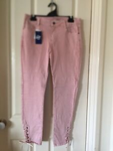 Ladies Dusty Pink Side Tie Jeans Size 12 - BNWT