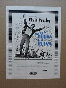 Elvis Presley Nancy Kovack orig Brazilian press sheet 1966 Frankie and Johnny