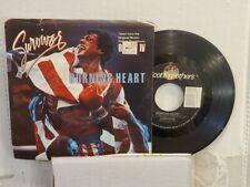 """SURVIVOR 7"""" 45 RPM """"Burning Heart"""" & """"Feels Like Love"""" from Rocky IV w/ps VG"""