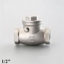 "Swing check valve 1/2"" inch NPT non-return Stainless steel 304 water oil Gas"