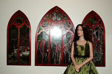 Windows Gothic for Dolls Tonner BJD 1:4 color red wood 3 pcs! 18 inch furniture