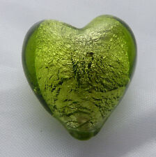 Peridot green silver foil glass heart beads 20 mm X 5. Drilled top to bottom