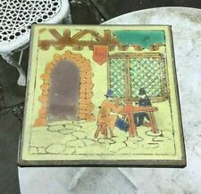Vintage Antique Wrought Iron Tavern Scene Tile Top Table Patio Stand
