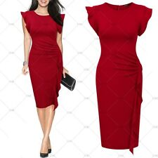 Women Vintage 1940s Cocktail Evening Party Casual Work Ruffle Dresses Red Size L