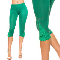 Womens Green Super Soft Cropped Leggings with Lace and Rhinestones UK 8/10 EU S/