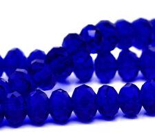 STRAND (72) COBALT BLUE CRYSTAL FACETED RONDELLE BEADS~8mm~Bracelets~Cord ()