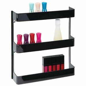 mDesign Large Wall Mount Vitamin Storage Organizer Shelf, 3 Tier - Black