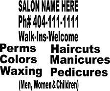 HAIR SALON Business window decals beauty shop store sign lettering windows