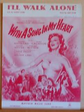 I'll Walk Alone 1952 sheet music from movie With A Song In My Heart, movie cover