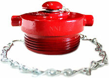 """Fire Department Connection - FDC 2-1/2"""" NST Plug with Chain Cast Iron, Red"""