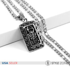 Men's Stainless Steel NK Link Chain Necklace w Cool Scorpion Dog Tag Pendant P27