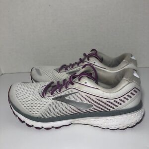 Brooks Ghost 12 Women's Running Shoes Sneakers Size 9 B White Purple
