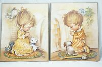 Set of 2 Vintage Adorable Praying Girl Boy Litho Print Mounted On Wood By COBY