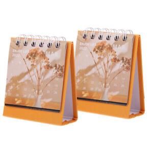 2pcs Mini Desktop Calendar  2022 Calendar Simple Desktop Notebook for Desktop