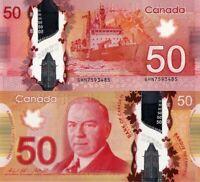 """CANADA 50 DOLLAR 2012 """"2015"""" P109a, W.L. Mackenzie King, Polymer, UNC"""