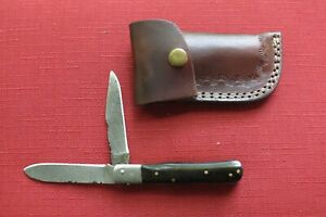 HAND MADE DAMASCUS TWO BLADE FOLDING POCKET KNIFE - BLACK HORN, CUSTOM SHEATH