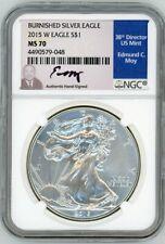 2015 W $1 Burnished Silver Eagle MS70 NGC Ed Moy signed