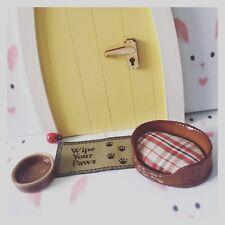 Fairy Garden / Fairy Door Fun Accessory Miniature Dog Bowl And Dog Bed