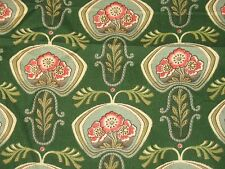 VTG EARLY ART DECO NOUVEAU COTTON FLORAL DECOR FABRIC Poppy GREEN 3 YD 25X116