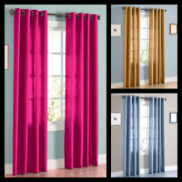 1PC SOLID SEMISHEER GROMMET FAUX SILK WINDOW CURTAIN PANEL VERSATILE DECOR MIRA