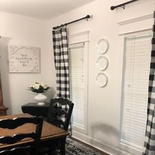 Plaid Buffalo Check Curtains Black and White Curtain Panels Country Rustic Decor