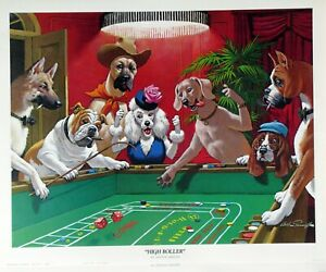 """High Roller"" Dogs Playing Craps 16x20 Poster"