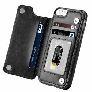 Flip Wallet iPhone XsMax XR XS 7 8 Case Cover - Card Wallet with Tempered Glass
