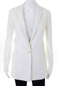 NEW Banana Republic Womens Cotton Single Button Long Blazer Cocoon White 10 $165