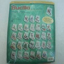 "Bucilla 30 Tiny Stocking Ornaments Counted Cross Stitch  3.5"" X 4""  NEW Sealed"