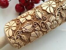 Paisley Textured Rolling Pin Embossed Dough Roller Carved Textured Rolling