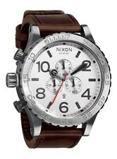 NEW NIXON Men's Watch 51-30CHRONO LEATHER Silver/Brown NA1241113 JAPAN F/S S1718